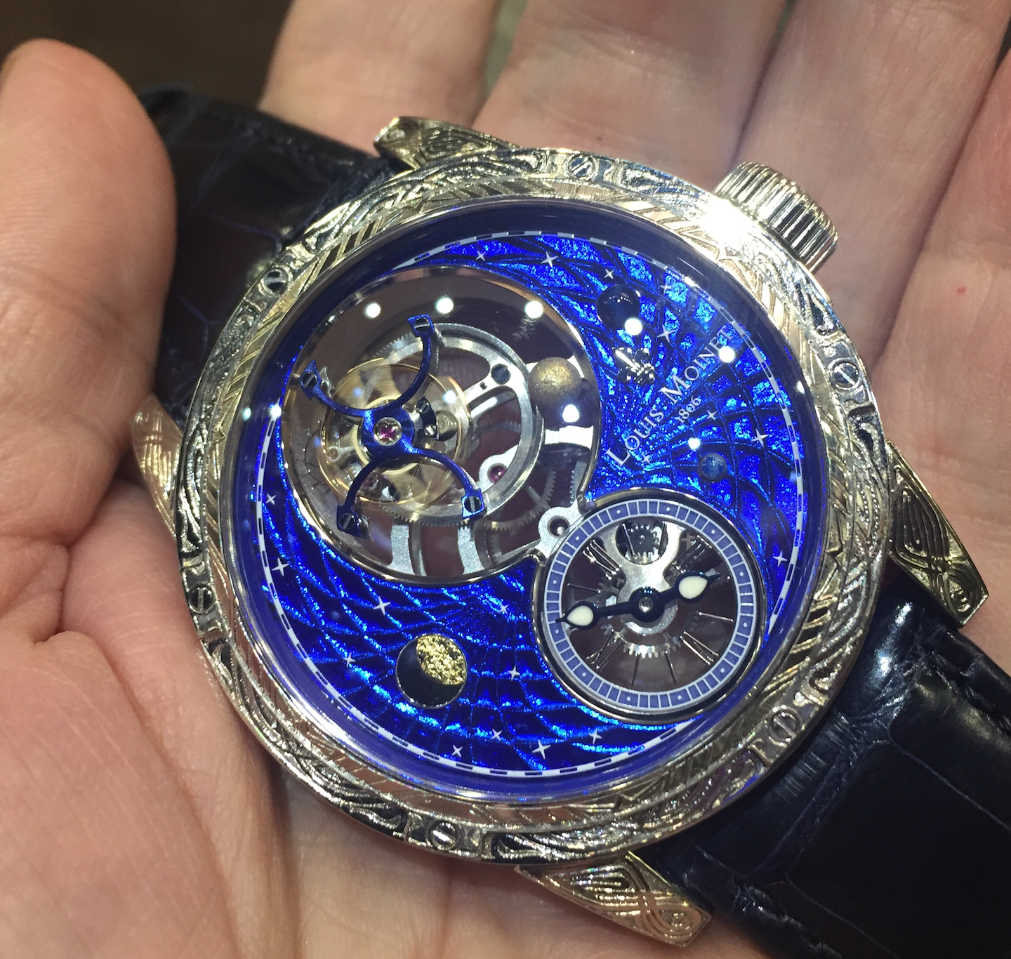 The Magic Blue dial of the Louis Moinet Space Mystery watch is a top-secret composition.