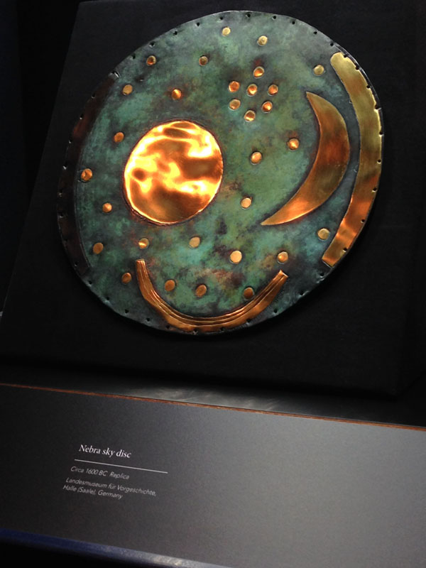 Replica of the Nebra disk, the oldest artifact depicting time and the celestial bodies.