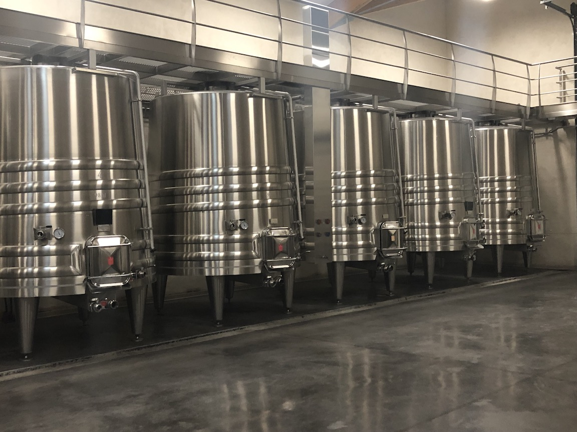 Stainless steel wine vats at Chateau Monestier La Tour