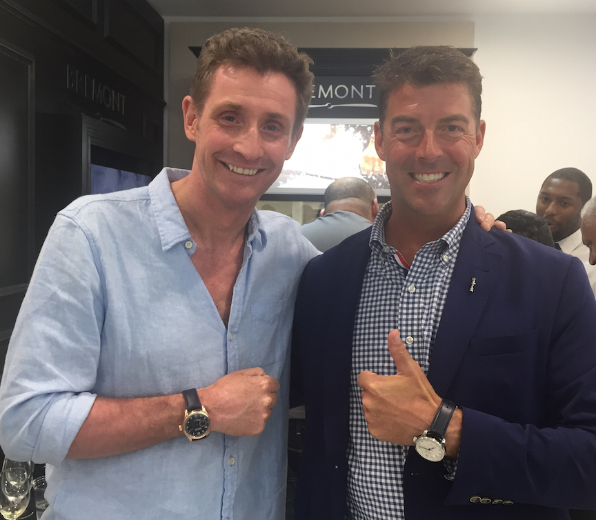 Bremont's Nick English (left) with sports commentator Tucker Thompson in Bermuda during the final weekend of the 35th America's Cup.