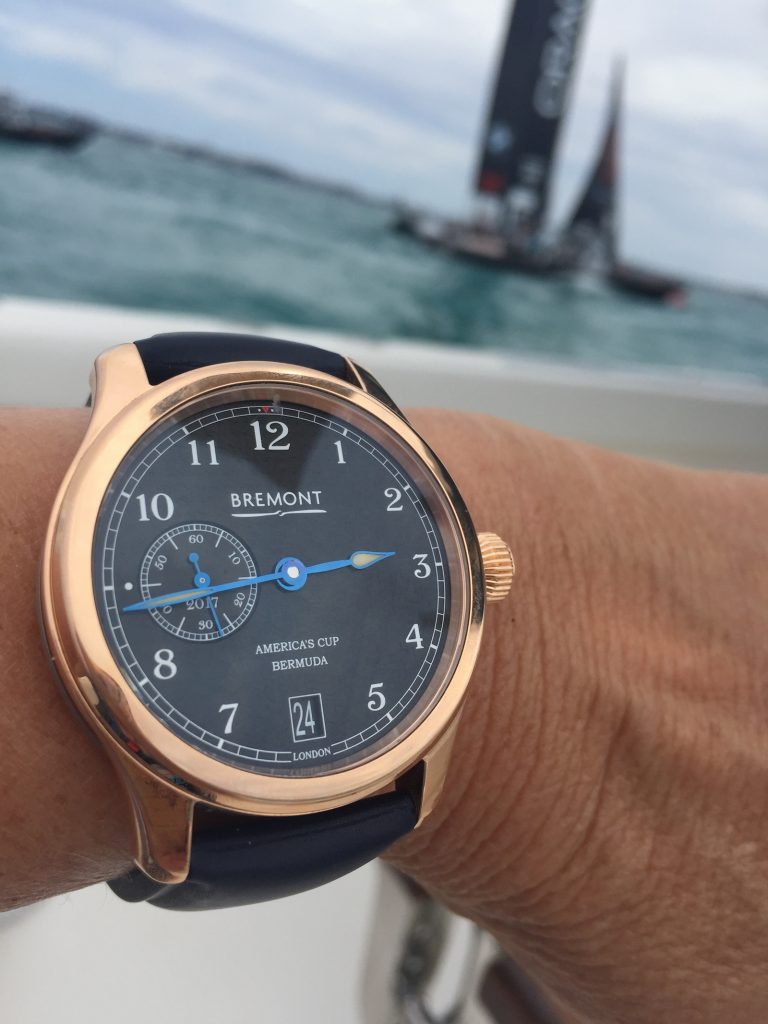 Bremont AC35 America's Cup Bermuda watch in 18-karat rose gold -- on the water during the final races for the 35th America's Cup.