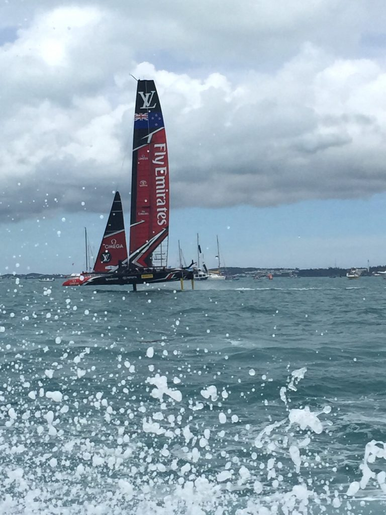 Watching the 35th America's Cup races on Bermuda's Great Sound from a chase boat.