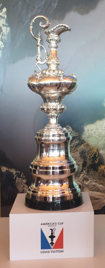 The America's Cup Trophy on display in Bermuda for the 35th America's Cup.