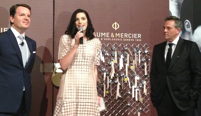 Mad Men actress Jessica Pare joined Alain Zimmermann (left) and Rudy Chavez  of Baume & Mercier at Gotham Hall for the unveiling of Promesse