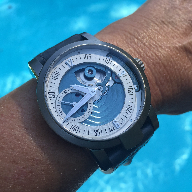 Armin Strom Cameleon Manual watch configurated in deep aquamarine colors.