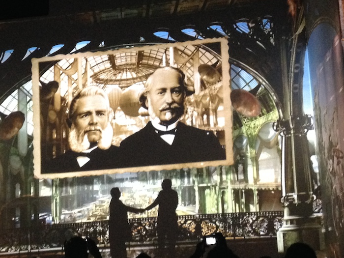 Opening festivities included a huge 3-D movie of the brand's history.