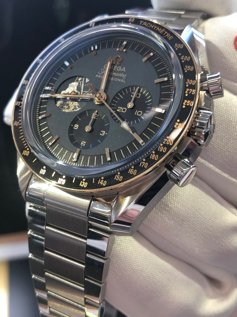 Omega Speedmaster Apollo 11 50th Anniversary watch in Moonshine gold.