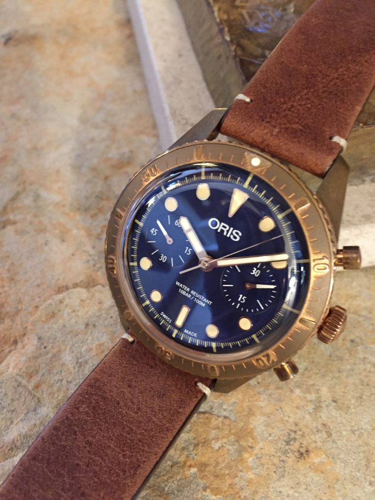 Oris Limited Edition Carl Brashear Chronograph in bronze.