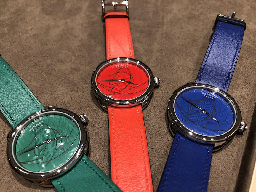 Hermes Arceau Casaque watch in green, red, blue and (not shown) lemon lime.
