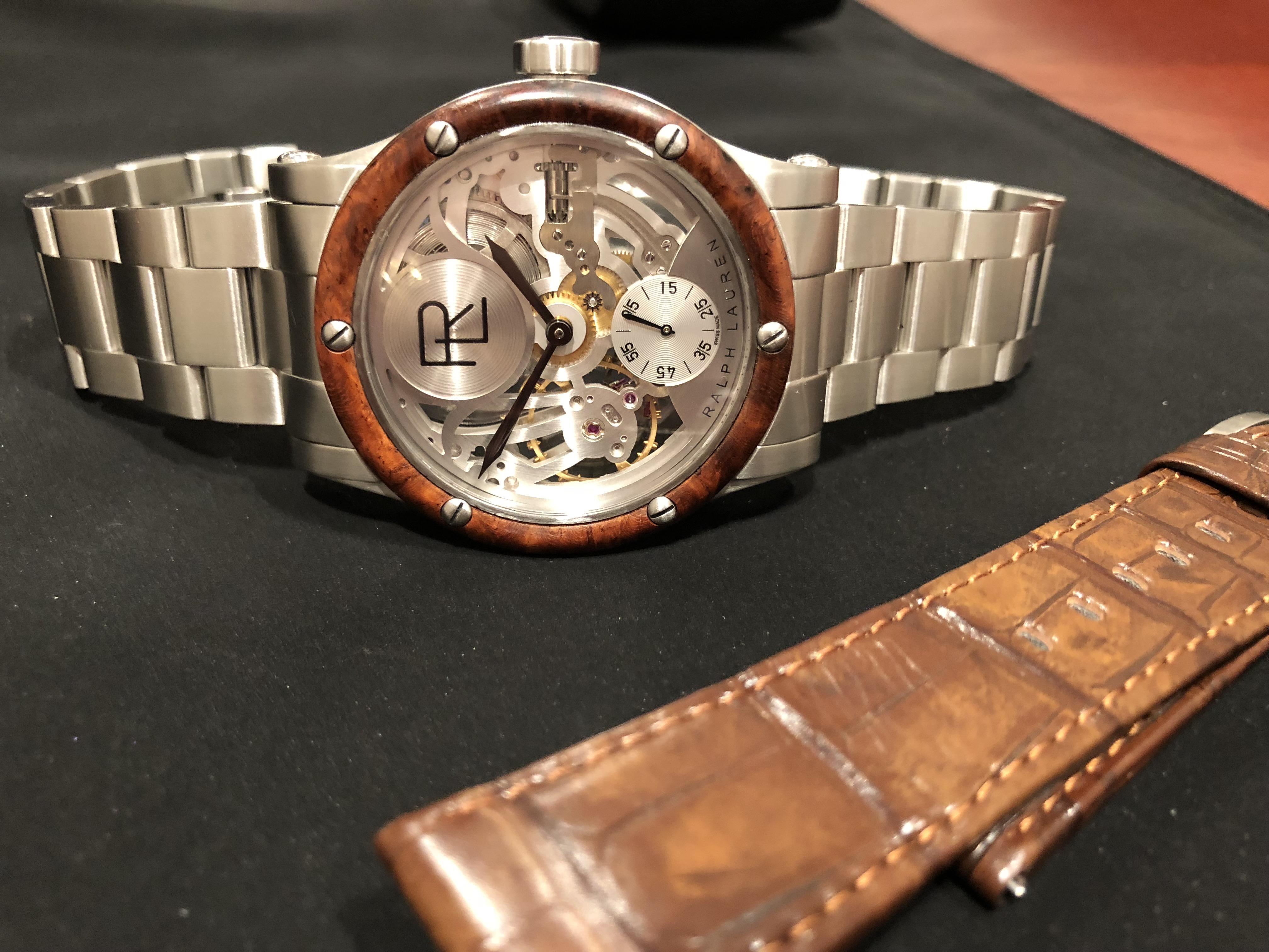 The new Ralph Lauren Automotive 45mm Skeleton Steel watch is sold with interchangeable strap/bracelet.