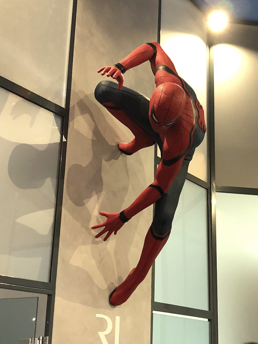At Romain Jerome, spiderman makes an appearance on the wall designed to reflect the Manhattan skyline at SIHH 2018