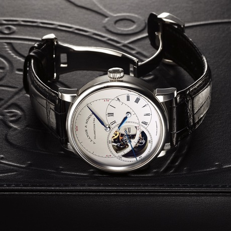 A. Lange & Sohne Tourbillon Pour Le Merite in platinum with special-order blued steel hands is up for auction at Antiquorum.