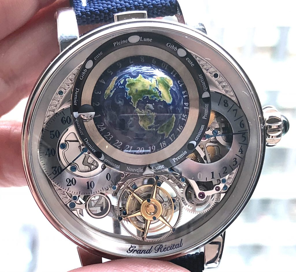 The Bovet Recital 22 Grand Recital 9-day Flying Tourbillon Tellurium-Orrery and Retrograde Perpetual Calendar retails in rose gold for $469,800.