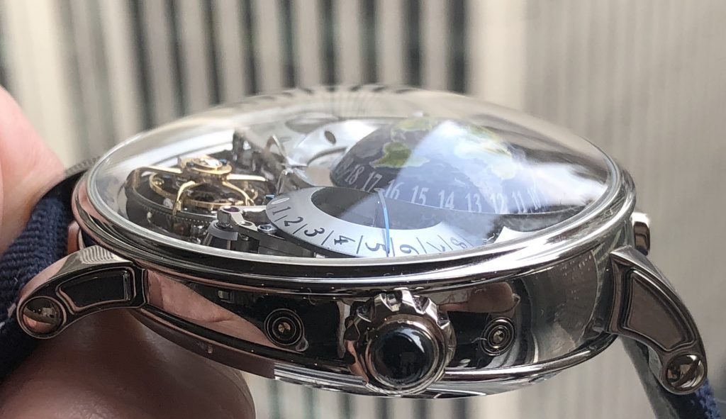 The case of the Bovet Recital 22 Grand Recital 9-day Flying Tourbillon Tellurium-Orrery and Retrograde Perpetual Calendar is shaped like a writing box.