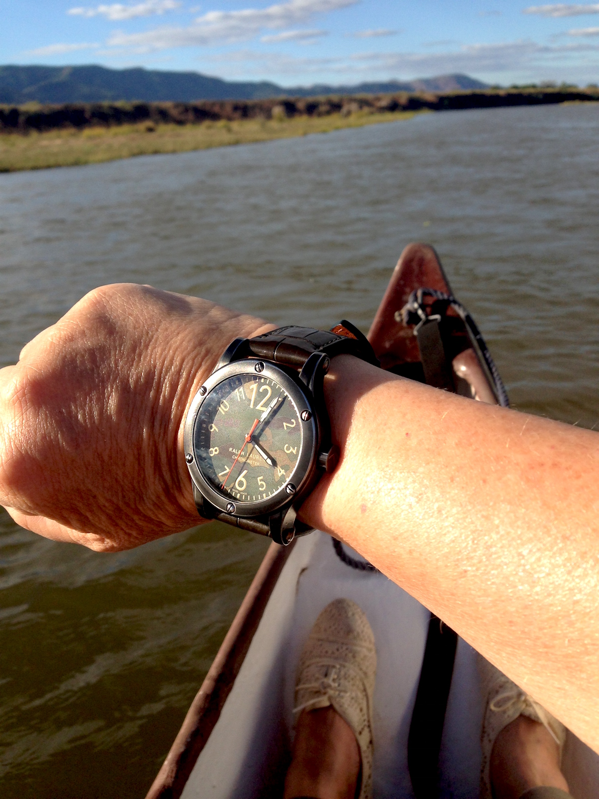 Canoeing in the Lower Zambezi with the crocodiles and hippos-- oh, and with the Ralph Lauren RL67 Safari Chronometer Camo watch. (photo c: R. Naas)