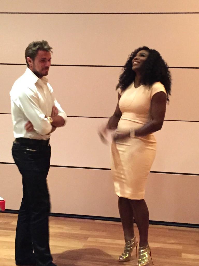 A candid moment as two tennis stars talk at the Audemars Piguet event