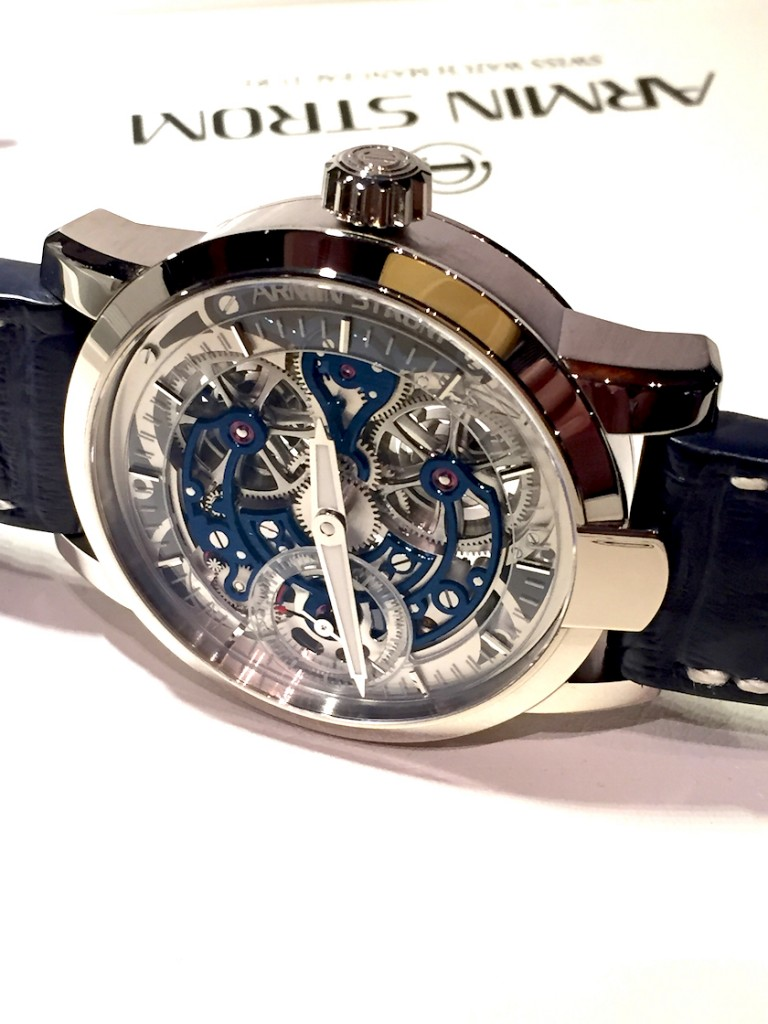 Seen at WatchTime New York, the Armin Strom Skeleton Pure in white gold houses the Calibre ARM09-S with bridges are highly accentuated in bold blue thanks to a special three-dimensional PVD