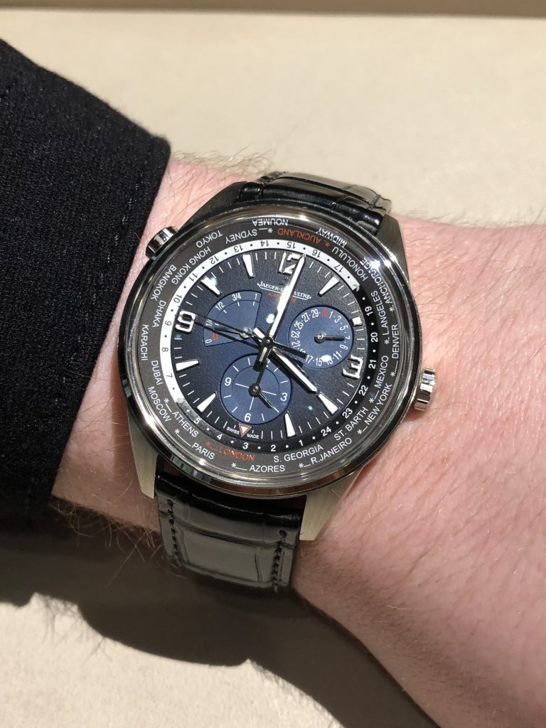 Jaeger-LeCoultre Polaris Geographic World Time watch features a 42mm stainless sfeel case with black/blue dial.