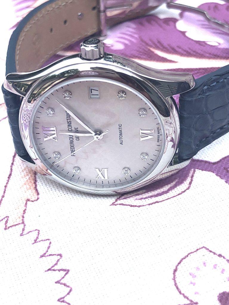 The Frederique Constant Ladies Automatic watch has a two-part ergonomically designed case.