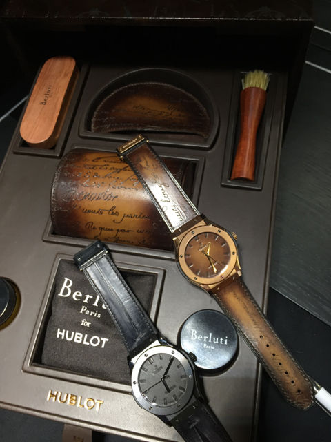 The watch is sold in a Berluti shoe shine box