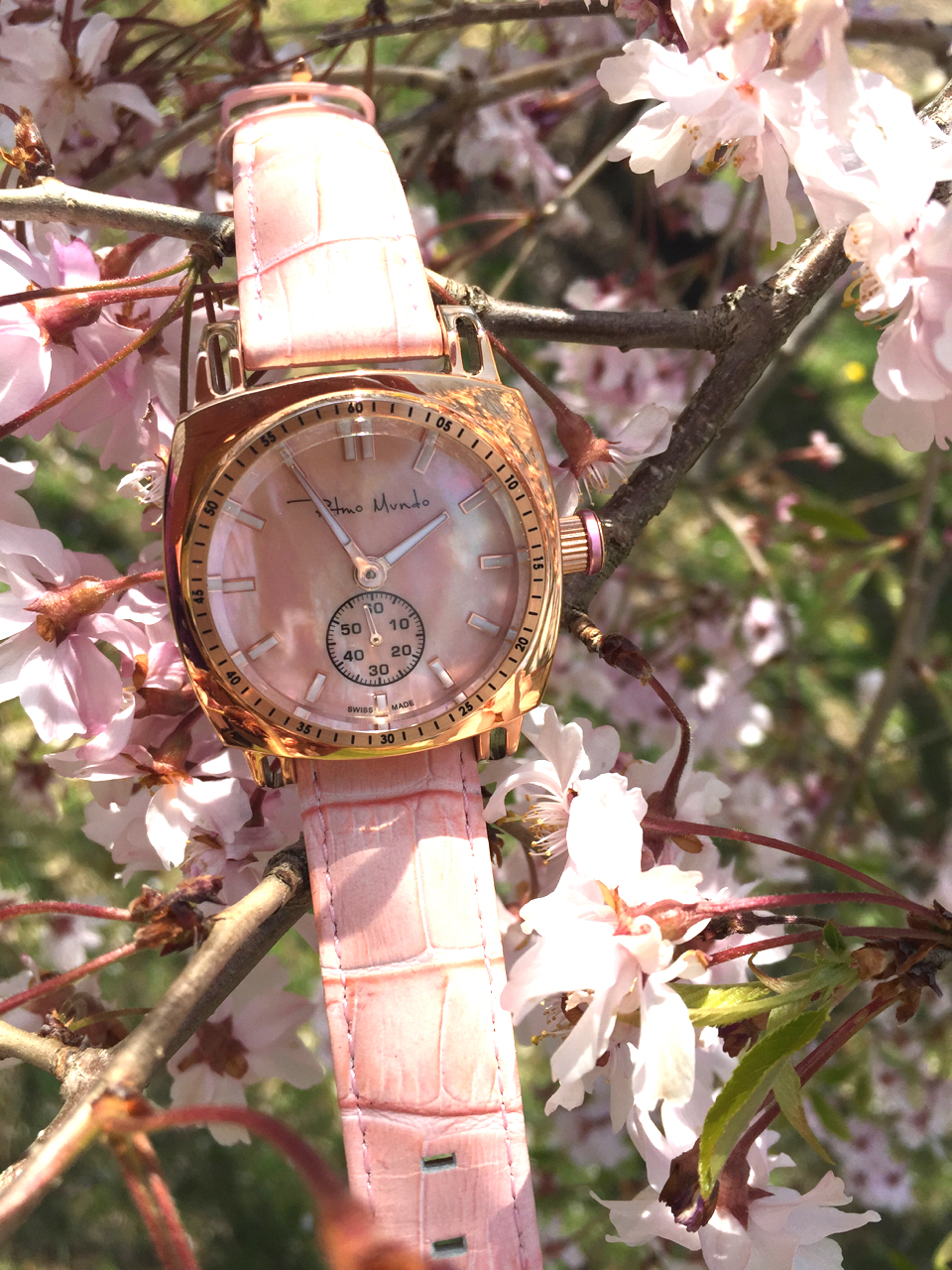 Ritmo Mundo Ladies Racer watch in IP rose gold with pink mother-of-pearl dial and pink leather strap. (Photo: R. Naas,ATimelyPerspective)