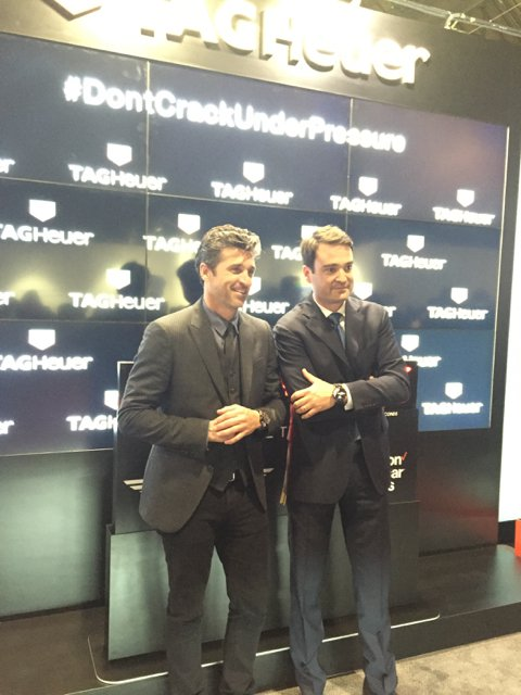 Patrick Dempsey with TAG Heuer at the brand's exhibition space at a recent watch show.