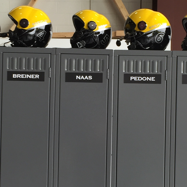 Lockers and helmets at the Breitling event.