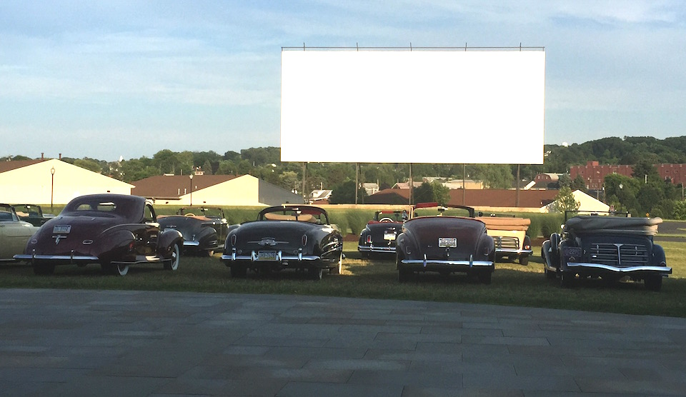 The drive-in movie screen on the NB Center property is one of the largest ever built in its day. (Photo: R. Naas, ATimelyPerspective)
