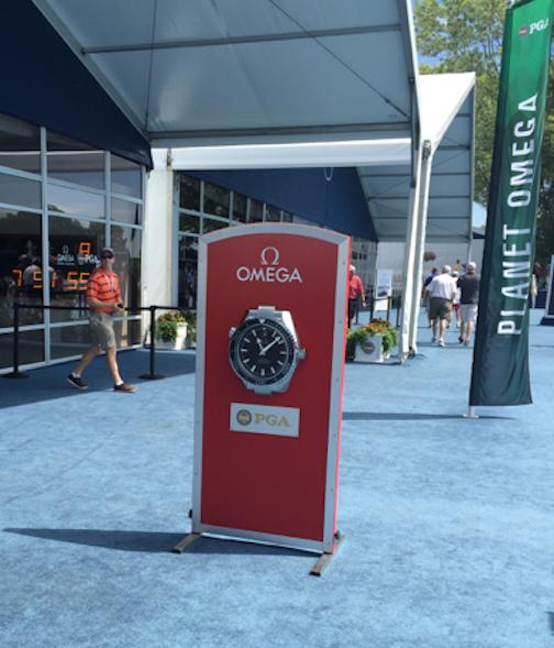 Omega clocks displayed the time around the course at Baltusrol.