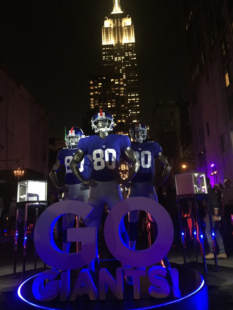 The New York Giants and Hublot, along with Victor Cruz (Giants wide receiver, # 80) unveiled the partnership and watch at an historic luxury tailgating party with the Empire State Building as the backdrop. (Photo: R. Naas)