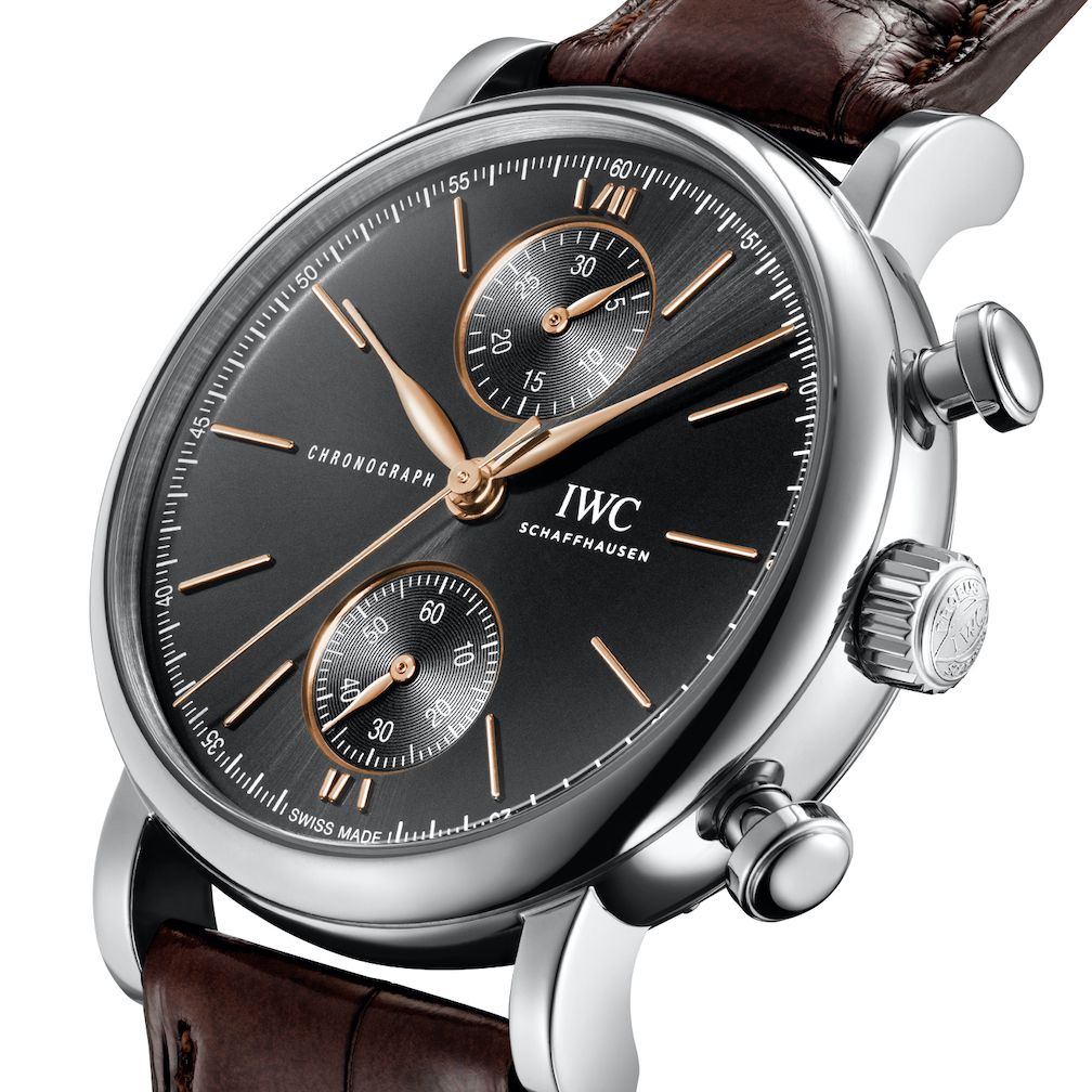 IWC Portofino watch with black dial.