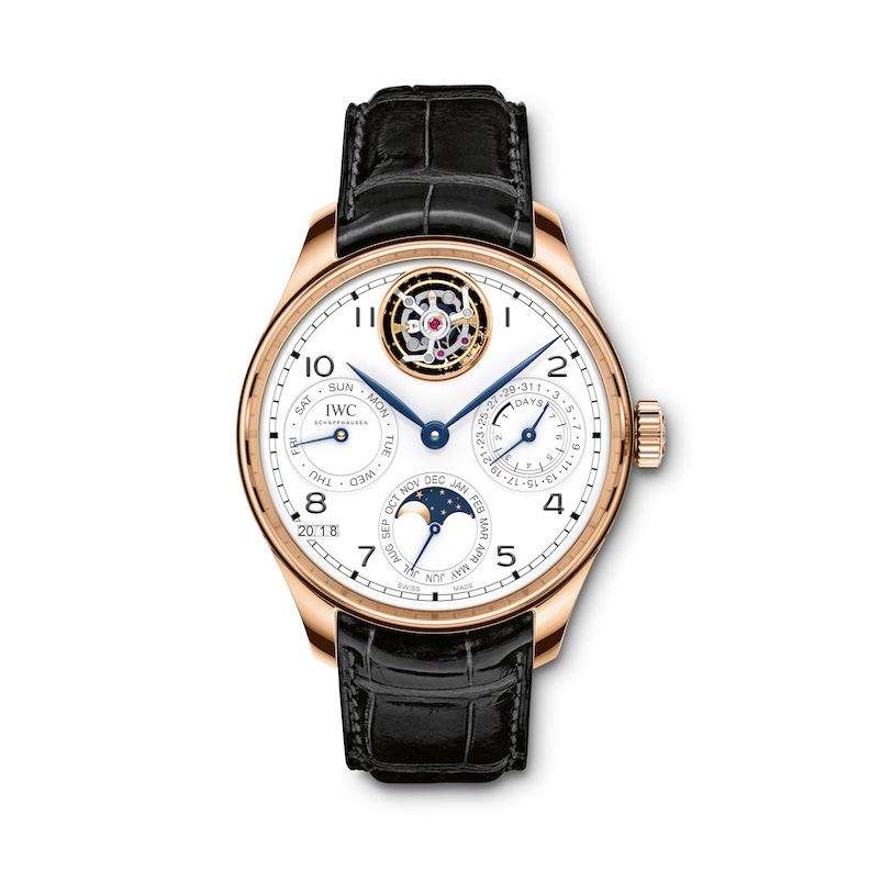 IWC Portugieser Perpetual Calendar Tourbillon Limited Edition 150 Years watch is made in a limited edition of 50 pieces, retailing for about $110,000 each.