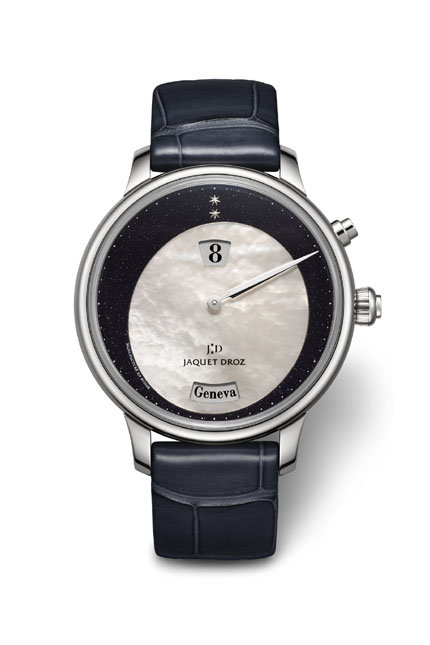 Jaquet Droz Twelve Cities Jump Hour ($31,200) created in a limited edition of 88 pieces. Self-winding mechanical movement with 12 time zones indicated by city names on the enamel dial.