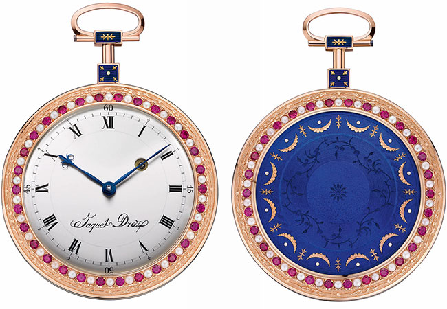 The Jaquet Droz pocket watch features a white enamel dial and blue enamel back.