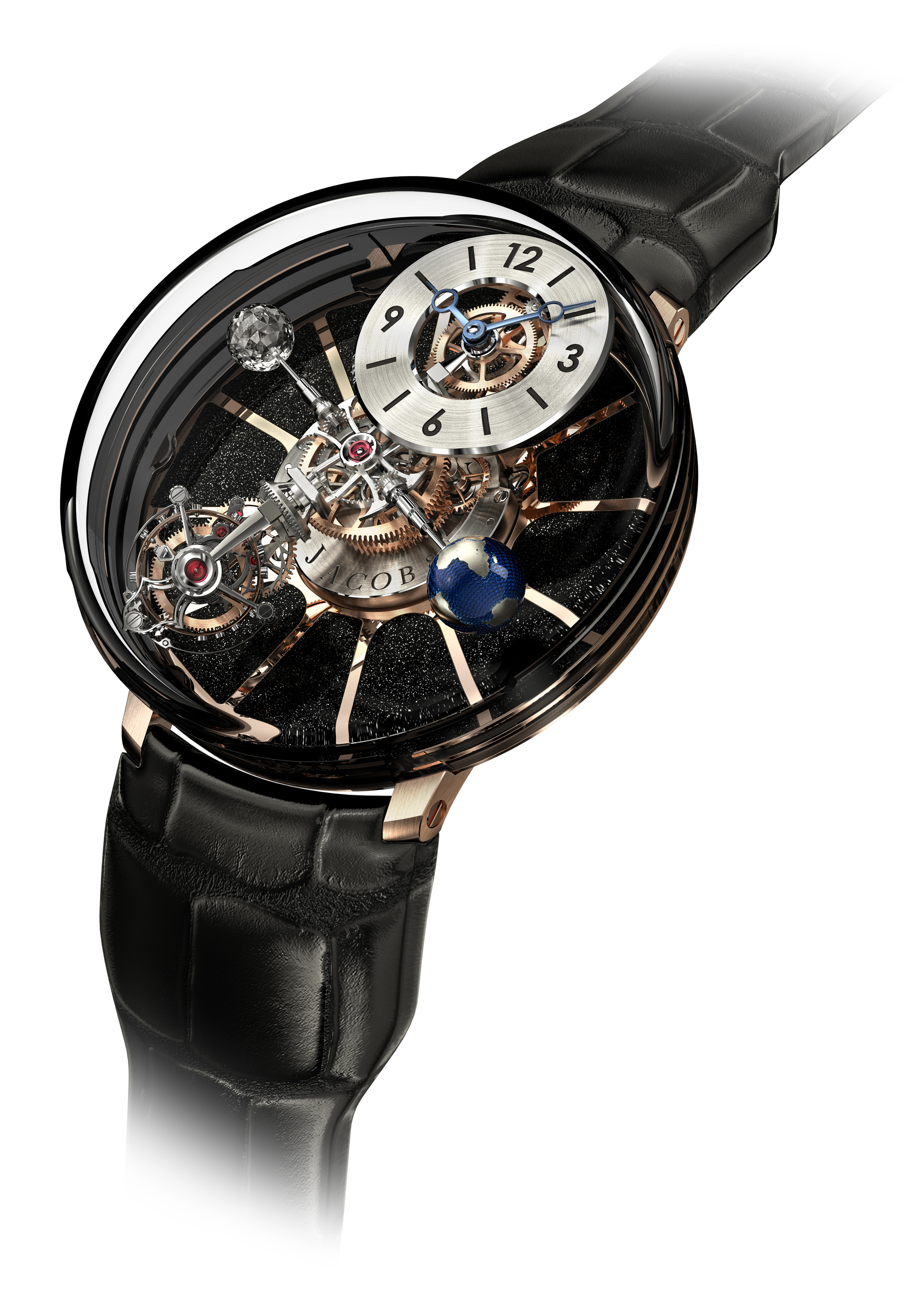 Jacob & Co Astronomia Tourbillon is a complex system of axes and indications.