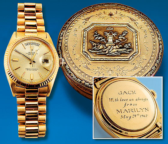 Marilyn Monroe gave President John F. Kennedy an engraved watch, which he quickly gave away.