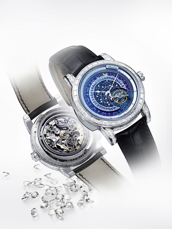 The watch offers zodiac calendar, orbital tourbillon and minute repeater.