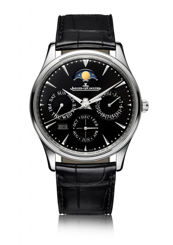 The new Jaeger-LeCoultre Master Ultra Thin Perpetual watch is powered by the Jaeger-LeCoultre336-part automatic Caliber 868, and, when cased, the watch measures just 9.2mm in height. It offers indication of year, date, day, month, moon phases, as well as hours, minutes, seconds
