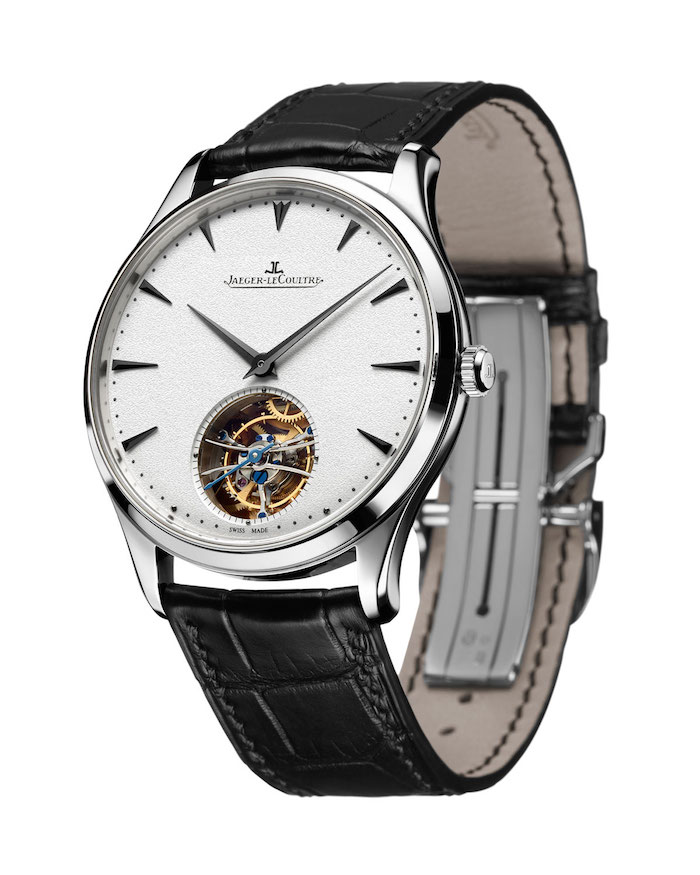 Jaeger Le-Coultre's Master Ultra Thin Tourbillon with its alligator leather strap.