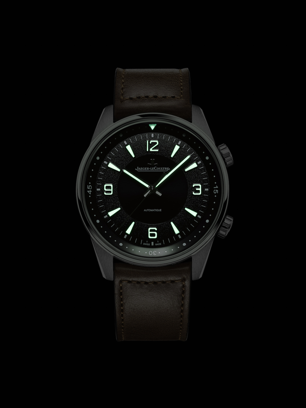 Night view of the Jaeger-LeCoultre Polaris Automatic with Super-LumiNova.