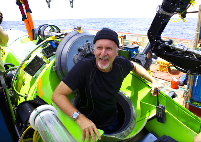 James Cameron after the successful dive with Rolex DEEPSEA CHALLENGE on the robotic arm of the Challenger