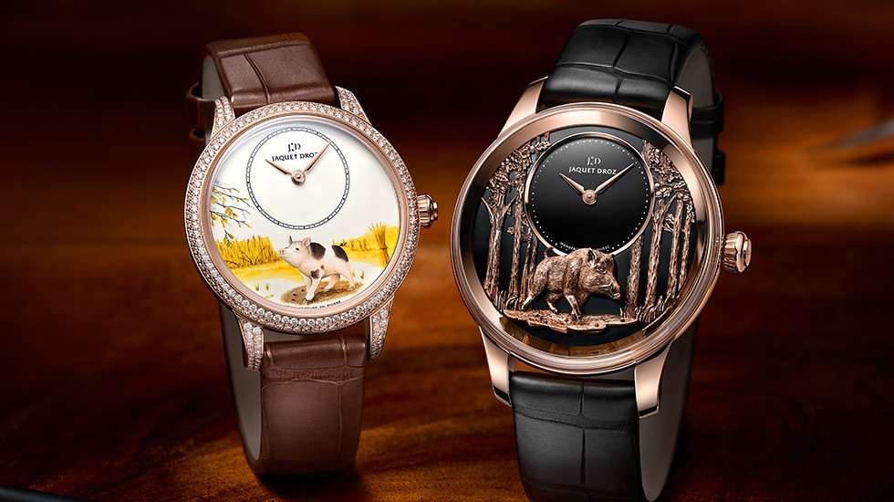Jaquet Droz Petite Heure Minute Year of the Pig watch in two versions.