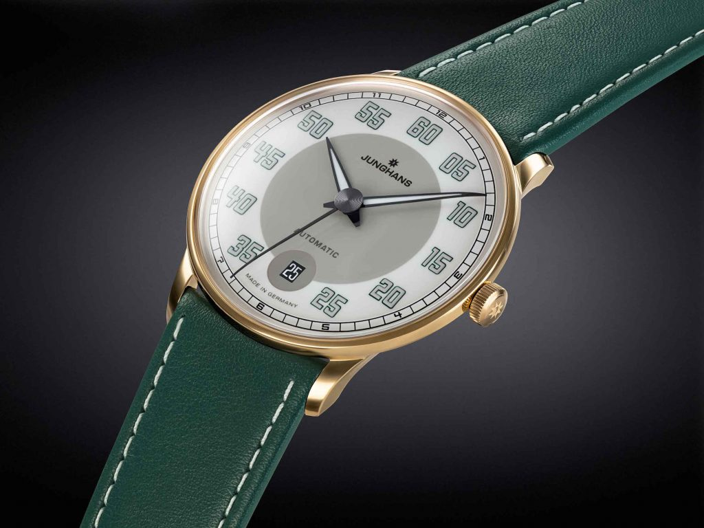 The green Jungians Meister Driver Automatic watch is inspired by British Racing Green.