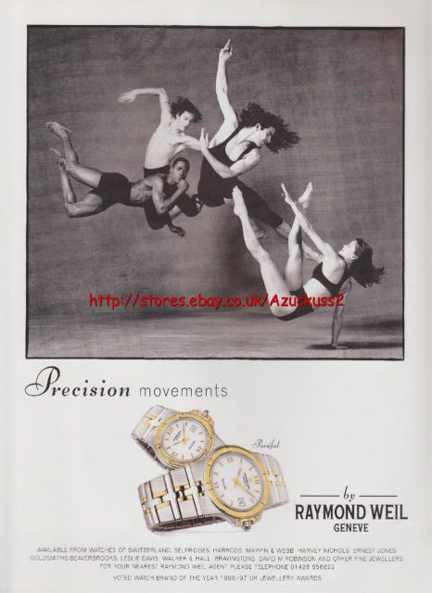 """Raymond Weil made a splash in the late 80's with its """"precision movements"""" campaign."""