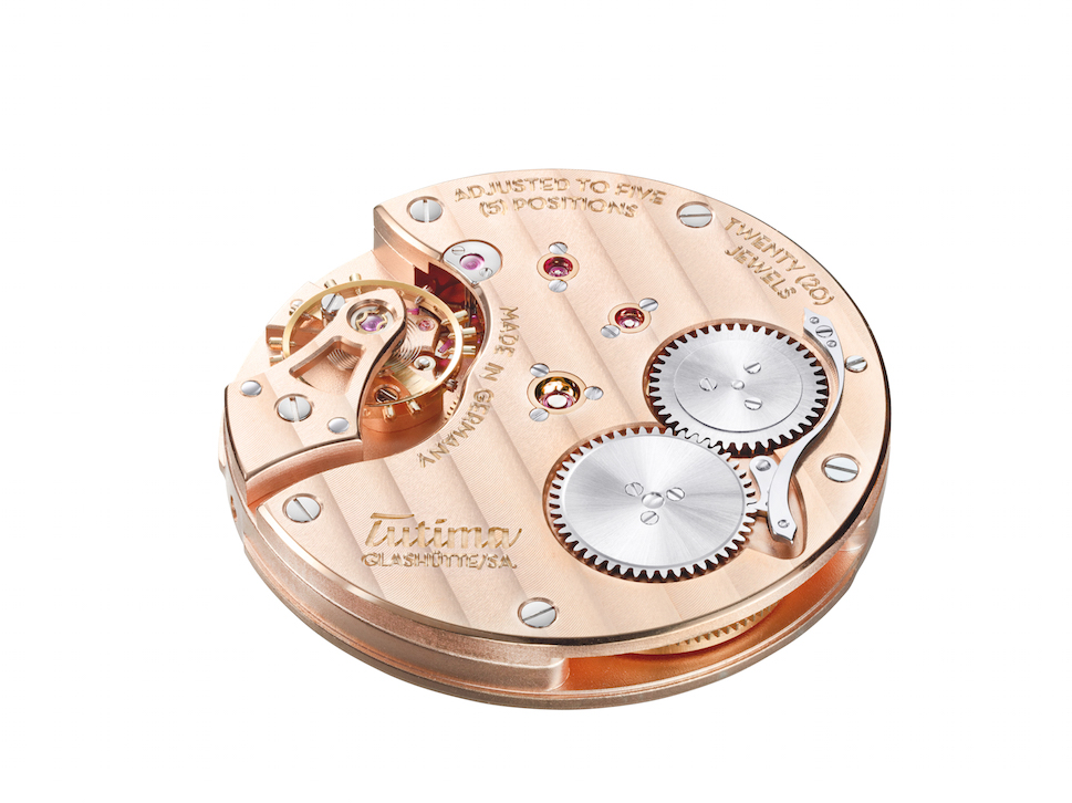 The Caliber 617 is made in-house in Glashutte and offers 65 hours of power reserve.