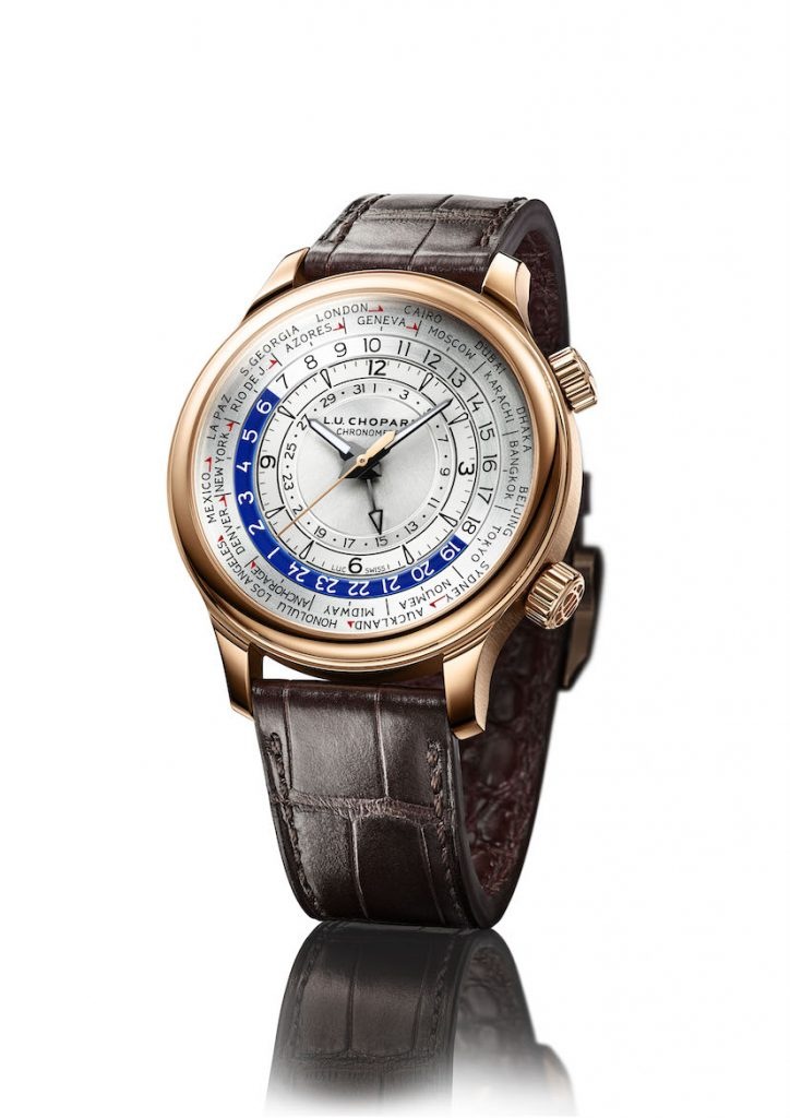 Chopard's L.U.C Time Traveler One is offered in three versions, platinum, gold and steel.
