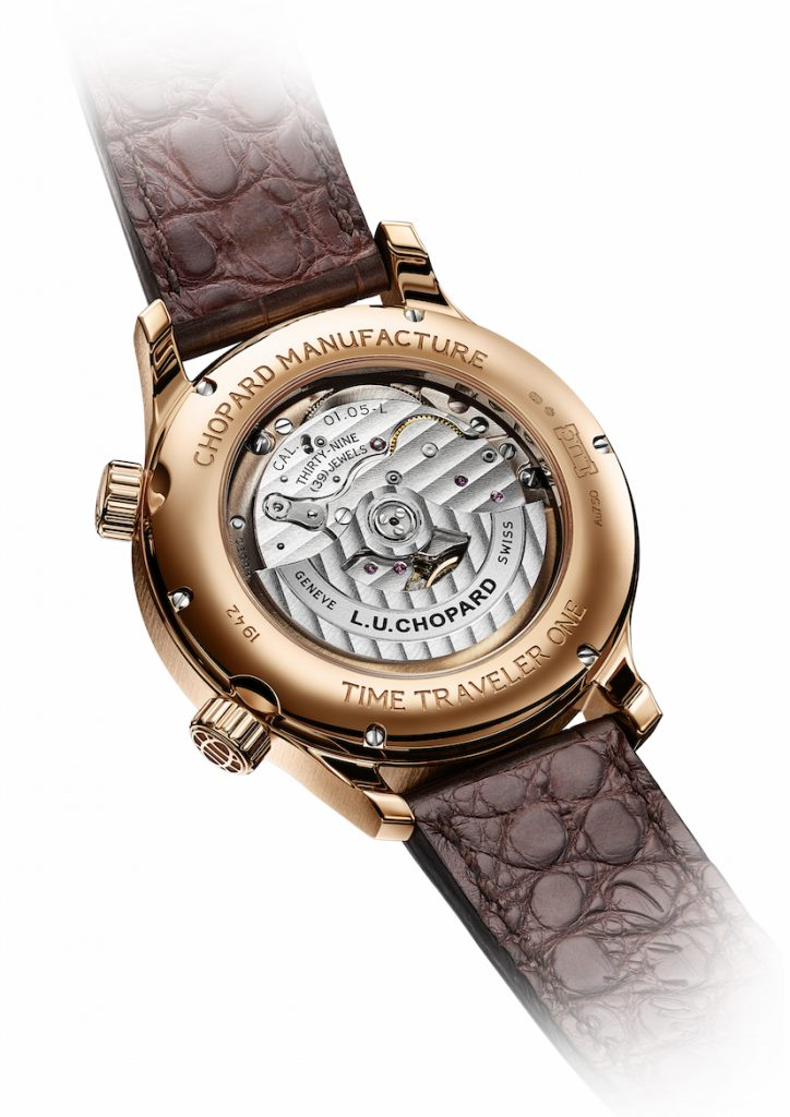 A transparent sapphire caseback allows for viewing of the new movement.