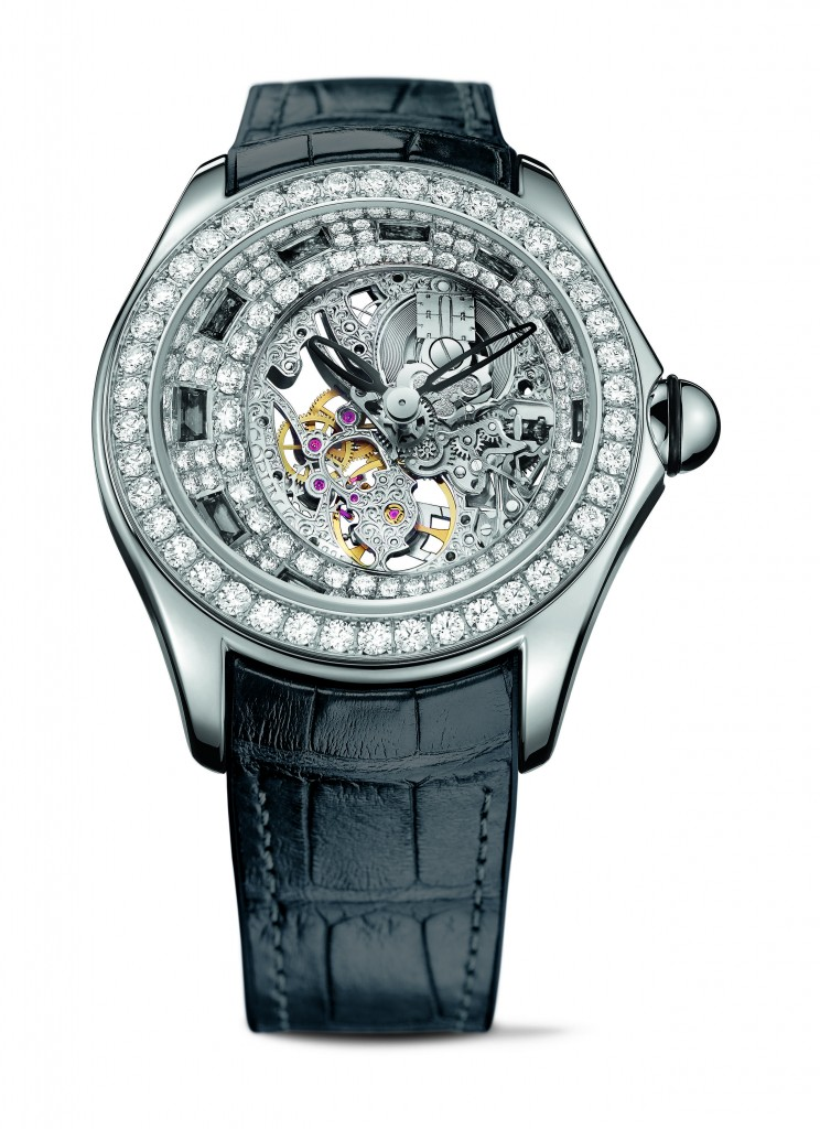 The Corum High Jeweled Bubble watch is offered in three color variations.