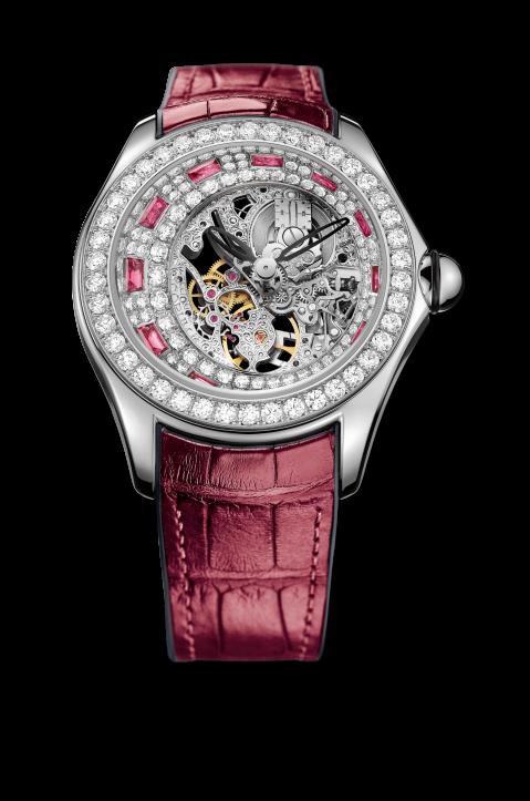 Corum Bubble Skelton ruby and diamond watch