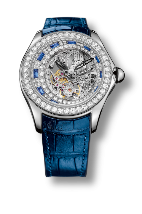 Sapphire version of the Corum Bubble High Jewelry watch
